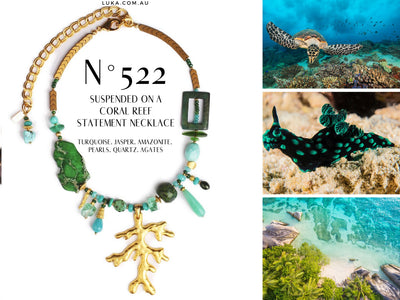 N°522 Suspended on a Coral Reef Statement Necklace