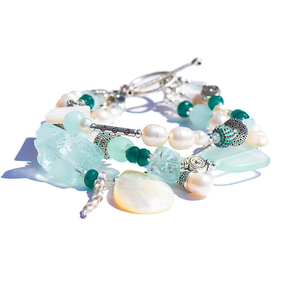 N°658 The Benign Turquoise Wave Thief Statement Bracelet