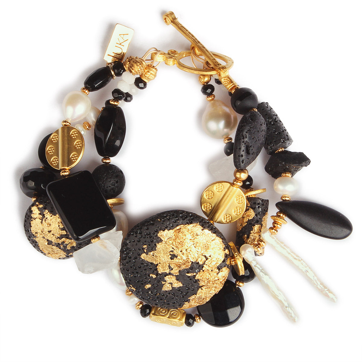 N°487 The Benign Black & White Stone Addiction Statement Bracelet