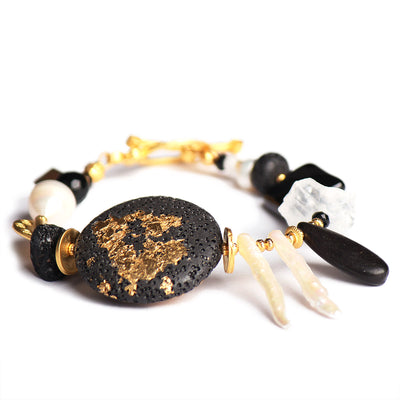 N°489 The Benign Black & White Stone Addiction Statement Bracelet