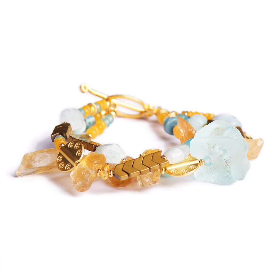 N°496 The Citrine & Aquamarine Meteor Shower Statement Bracelet