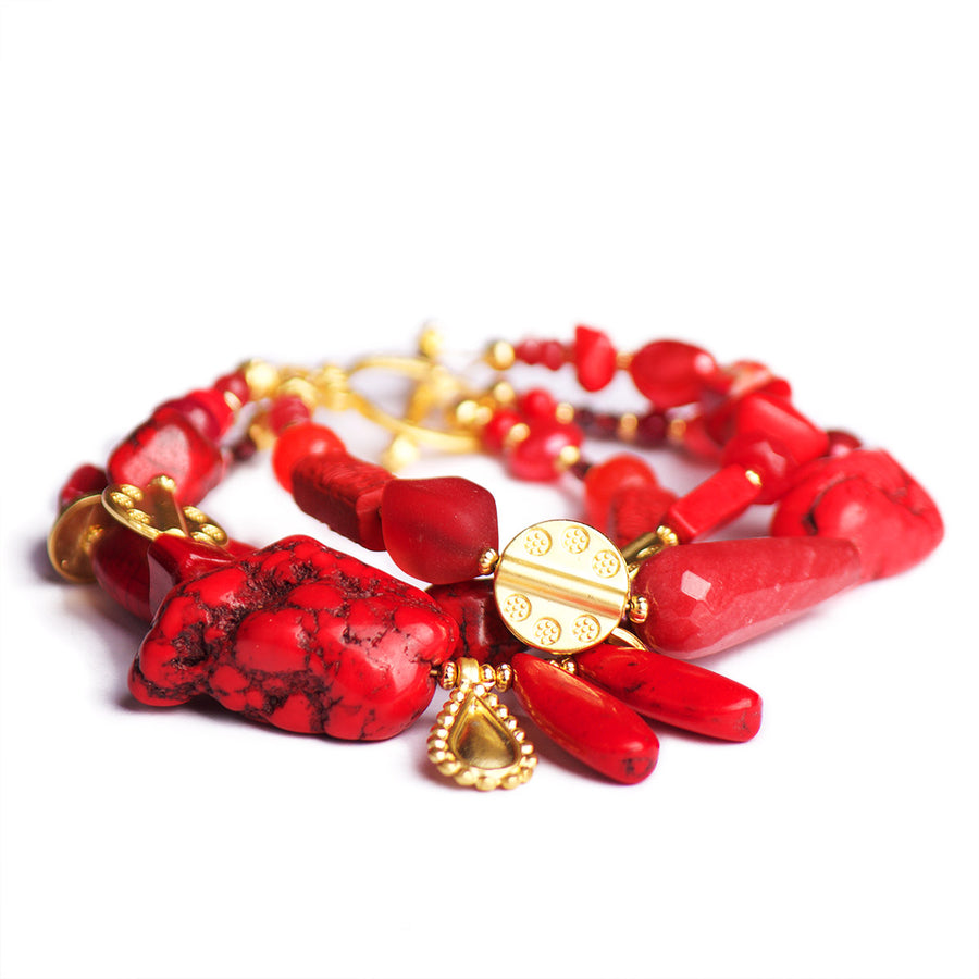 N°490/491/492 The 39 Shades of the Red Planet Statement Bracelet
