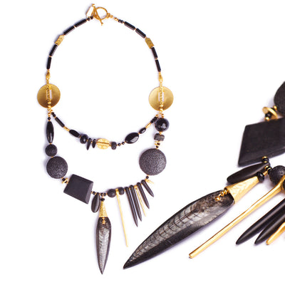 N°464 The Triassic Black Magic Statement Necklace