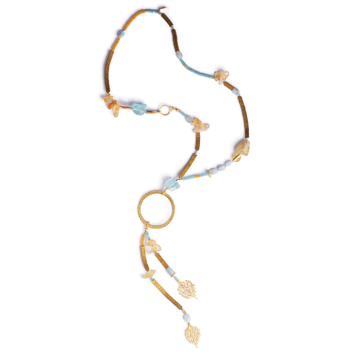 N°450 The Citrine & Aquamarine Meteor Shower Statement Necklace