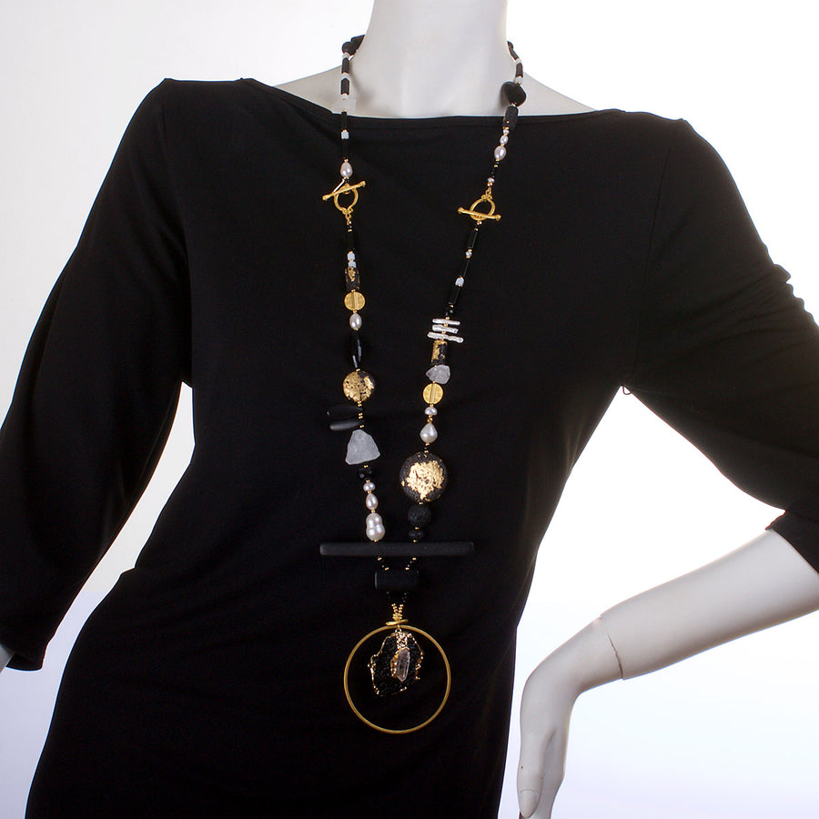 N°447 The Benign Black & White Stone Addiction Statement Necklace