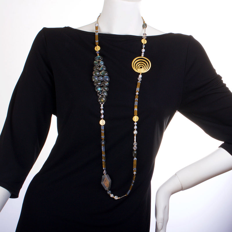 N°455 The Labradorite Chain Reaction Statement Necklace