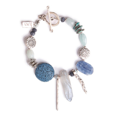 N°553 The Lost Coordinates of Aquamarine & Kyanite Statement Bracelet