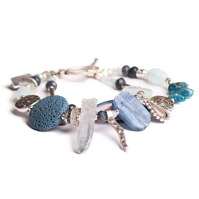 N°552 The Lost Coordinates of Aquamarine & Kyanite Statement Bracelet