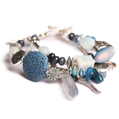 N°551 The Lost Coordinates of Aquamarine & Kyanite Statement Bracelet