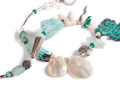 N°690 The Benign Turquoise Wave Thief 2 Statement Necklace