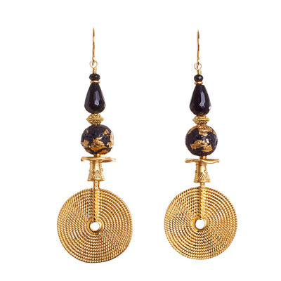 N°560 Night Sky with Golden Lava Statement Earrings