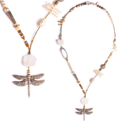 N°605 The Dragonfly Double Moonrise Society Statement Necklace