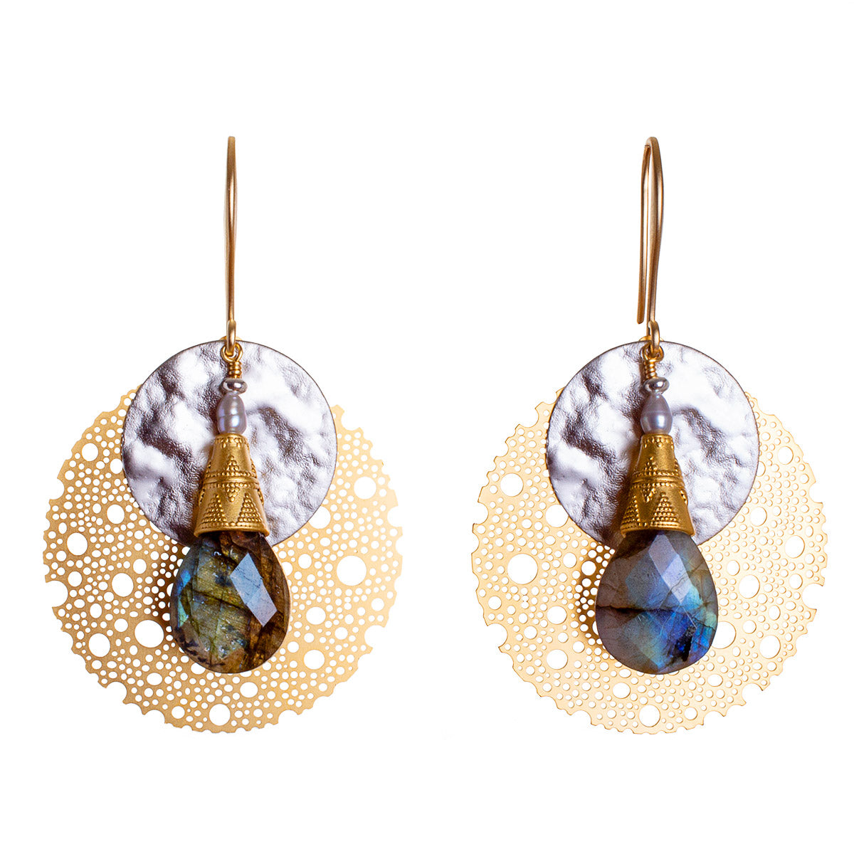 N°670 The Elegant Republic of Labradorite Thieves Statement Earrings