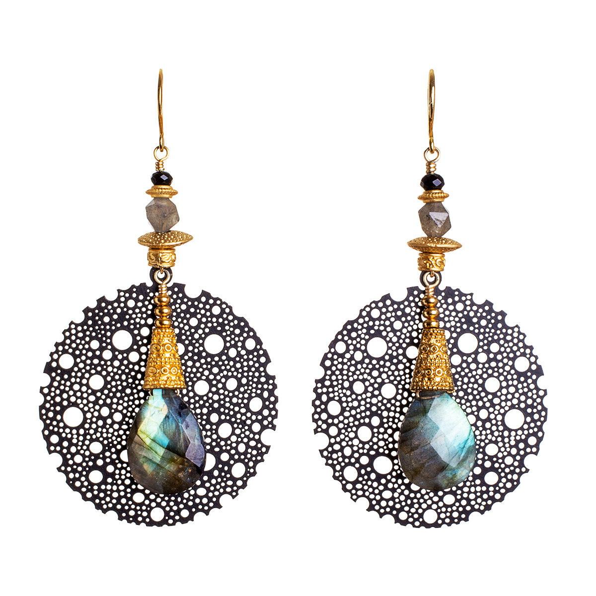 N°674 The Midnight Labradorite Spell Statement Earrings