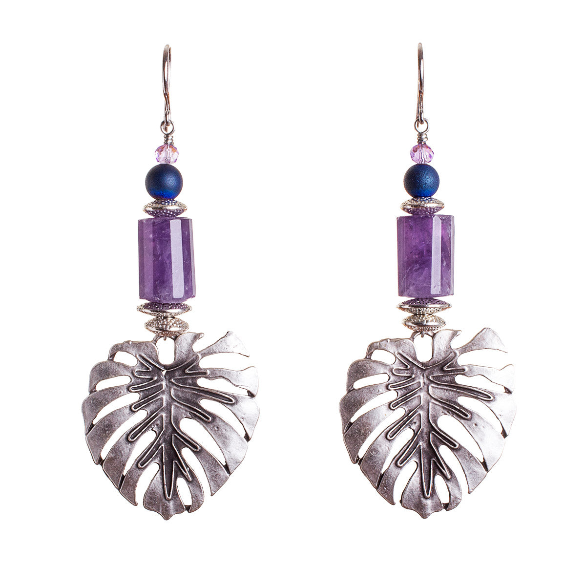 N°679 The Amethyst & Monstera Curiosity Statement Earrings