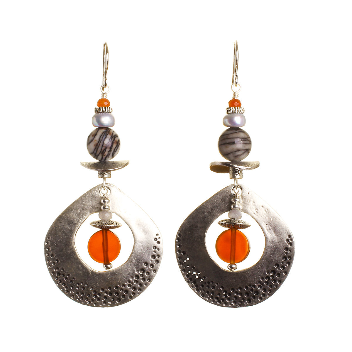 N°466 The Fossil Council of the Soul Statement Earrings