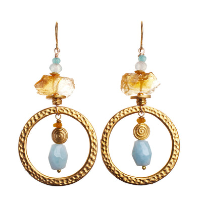 N°474 The Citrine & Aquamarine Meteor Shower Statement Earrings Statement Earrings