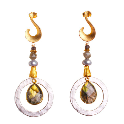 N°478   The Labradorite Chain Reaction Statement Earrings