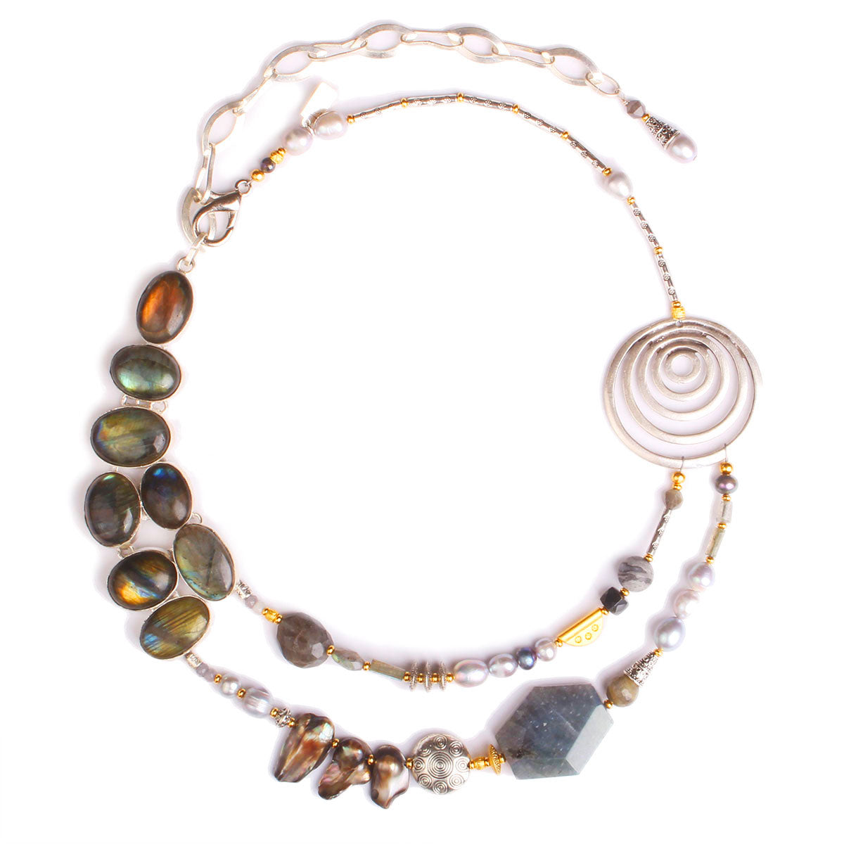 N°524 The Soothing Republic of Liquid Silver Statement Necklace