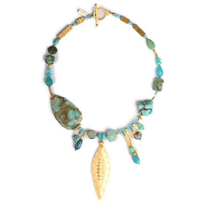 N°526 The New Rules for Turquoise Atoms & Particles Statement Necklace