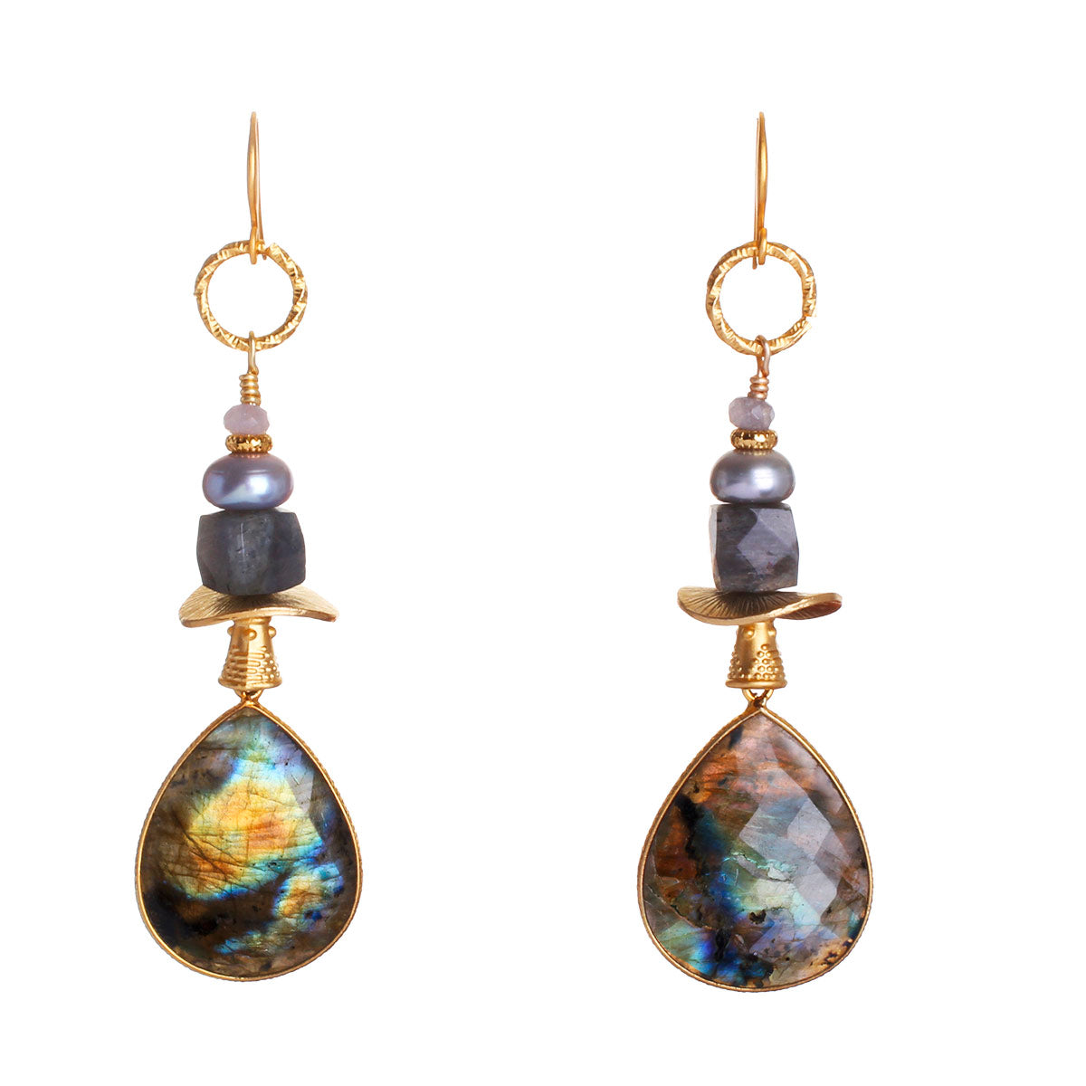 N°534 The Continent of Labradorite Imagination Statement Earrings