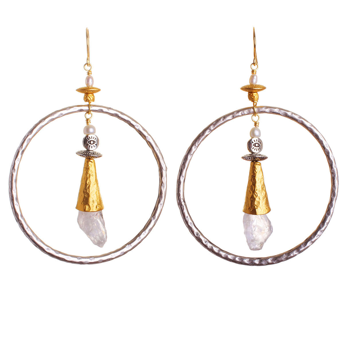 N°536 The Quartz & Pearl Cloud Language of Iris Apfel Statement Earrings