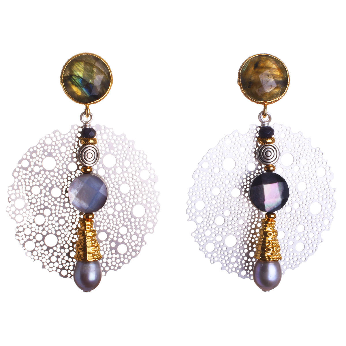 N°540 The Labradorite Soul Carrier Statement Earrings