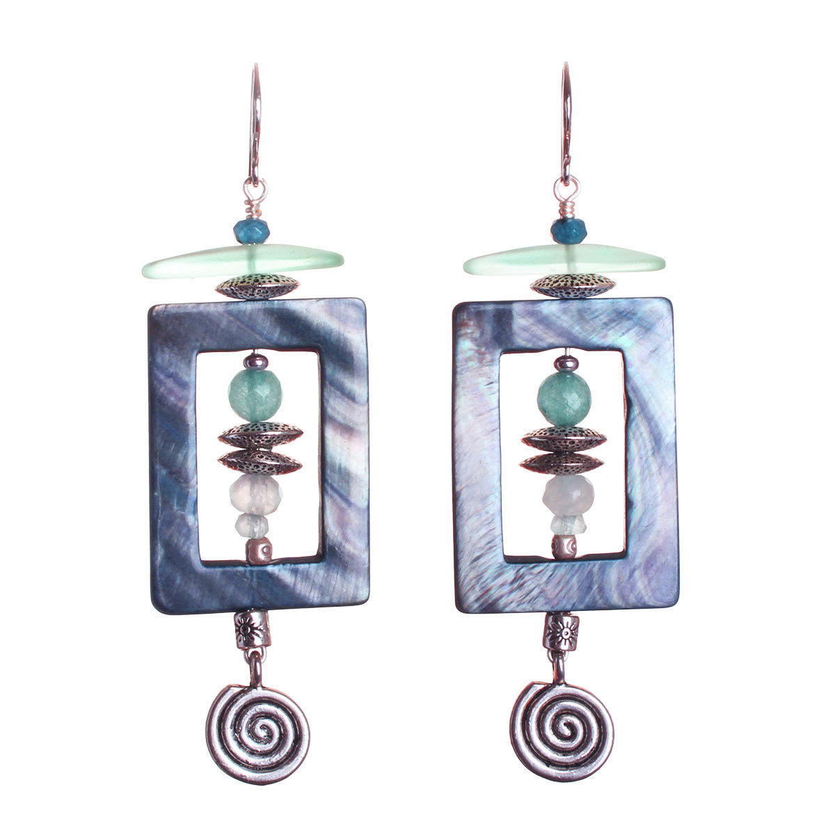 N°547 The Lost Coordinates of Aquamarine & Kyanite Statement Earrings