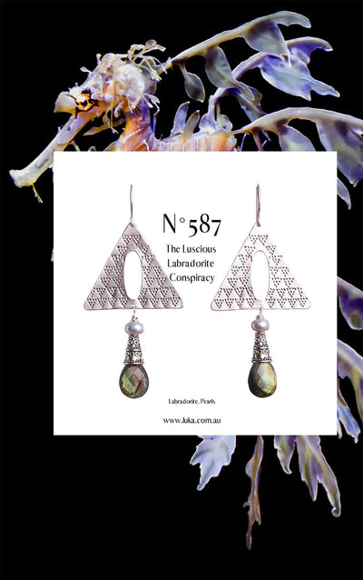 N°587 The Luscious Labradorite Conspiracy Statement Earrings