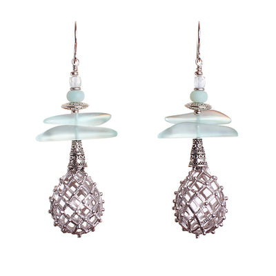 N°593 The Fantastical Aquamarine Weaver Bird Statement Earrings