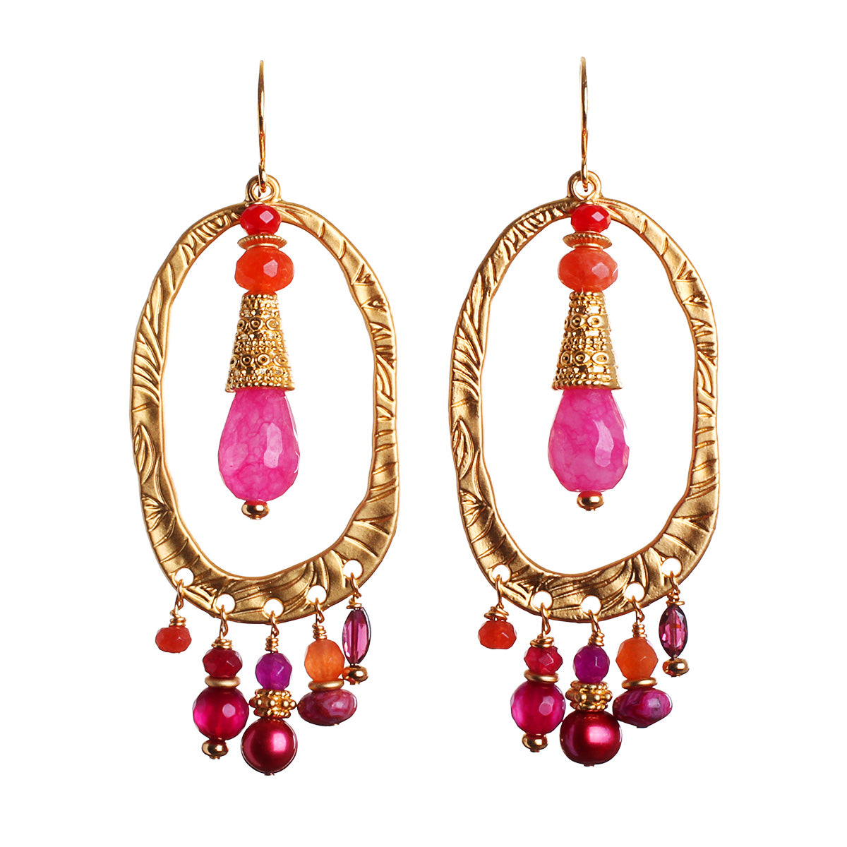 N°595 The Tangerine & Watermelon Midnight Wedding Statement Earrings