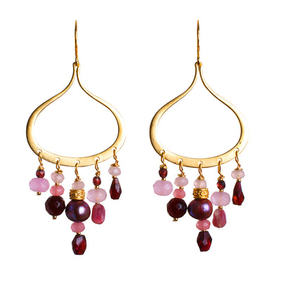 N°596 The Tourmaline & Garnet Infinity Elephant Statement Earrings