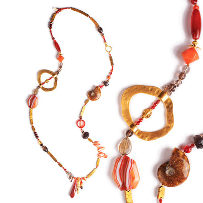 N°614 The Republic of Ammonite & Carnelian Happiness Statement Necklace