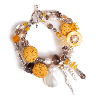 N°618 The Saffron & Cocoa Love Contract Statement Bracelet