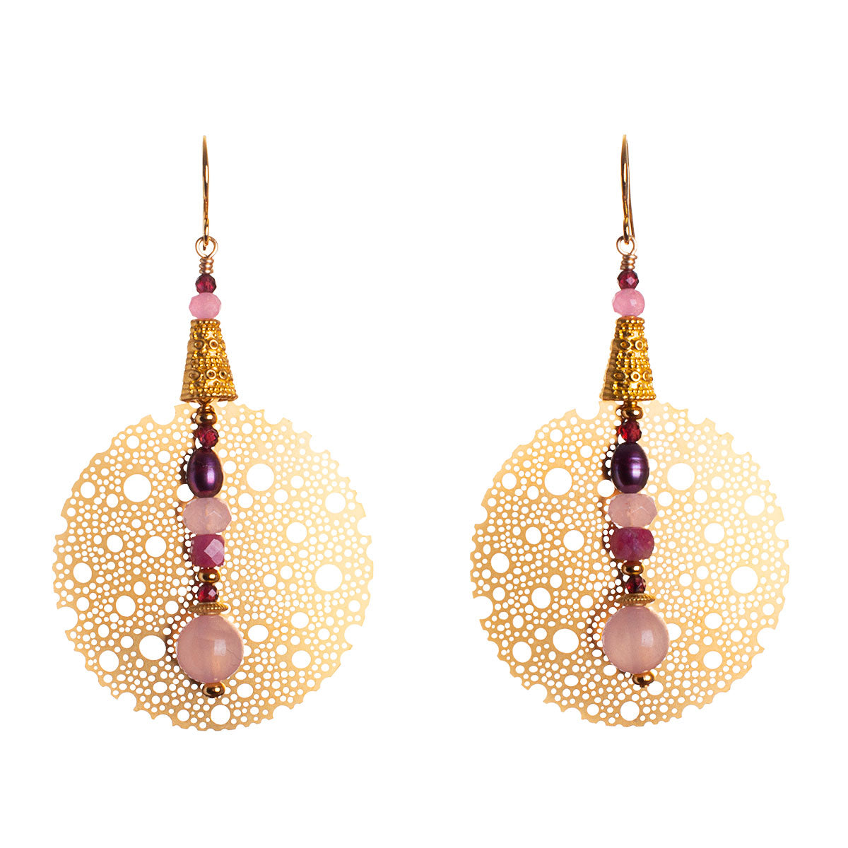 N°643 The Gentle Coordinates of Rose Quartz & Tourmaline Statement Earrings
