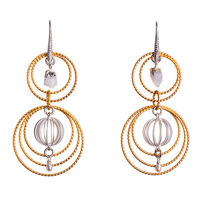 N°645 The Moonstone Champagne Supernova Statement Earrings