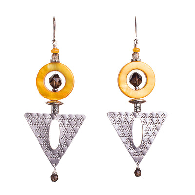 N°647 The Saffron & Cocoa Love Contract Statement Earrings