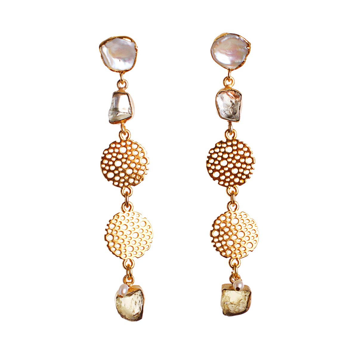 The Delicous Aquamarine & Pearl Tide Statement Earrings
