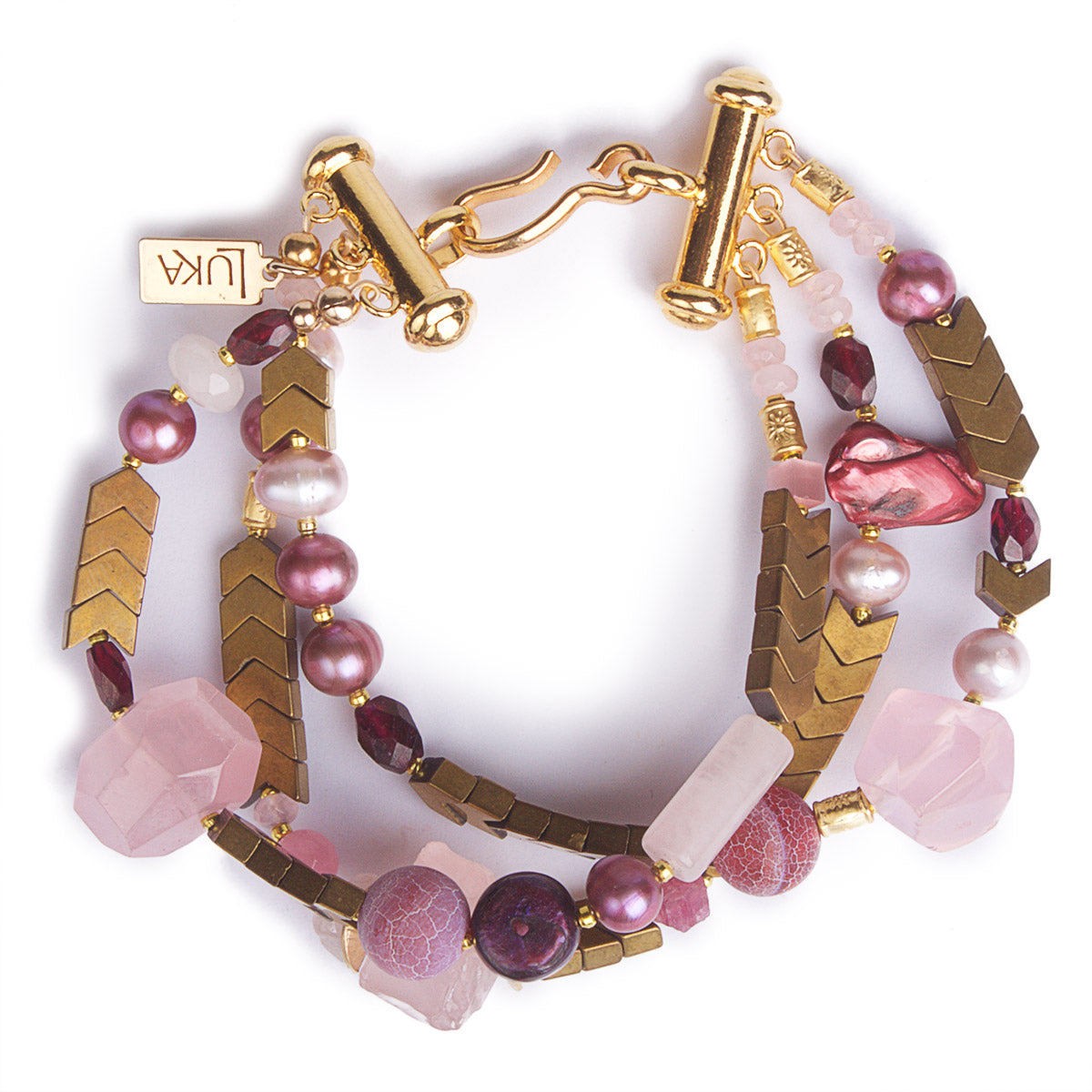 The Golden Age of Rose Quartz & Pearls Statement Bracelet
