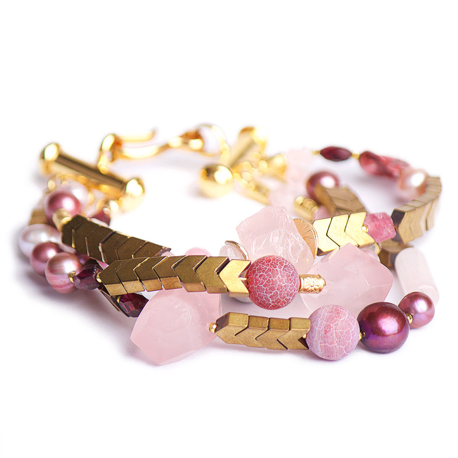 N°431/432/433 The Golden Age of Rose Quartz & Pearls Statement Bracelet
