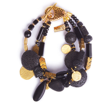 The Black Velvet Moon Lava & Gold Statement Bracelet