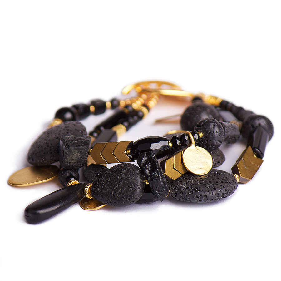 N°440/441/442 The Black Velvet Moon Lava & Gold Statement Bracelet