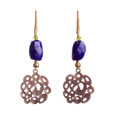 N°118 Lapis Lazuli Lace Metamorphosis Statement Earrings