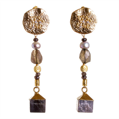 N°341 The Labradorite Order of the Double Sunrise Statement Earrings