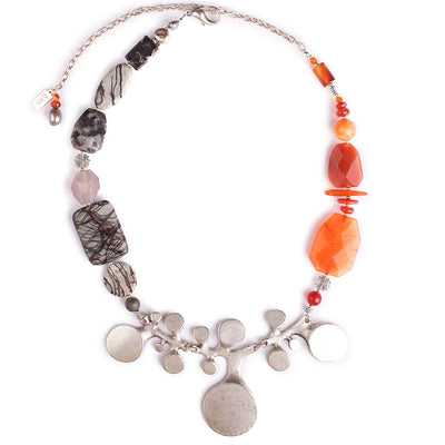 N°323 In the Captivity of Carnelian Statement Necklace