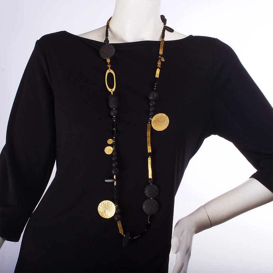 N°380 The Black Velvet Moon Lava & Gold Statement Necklace