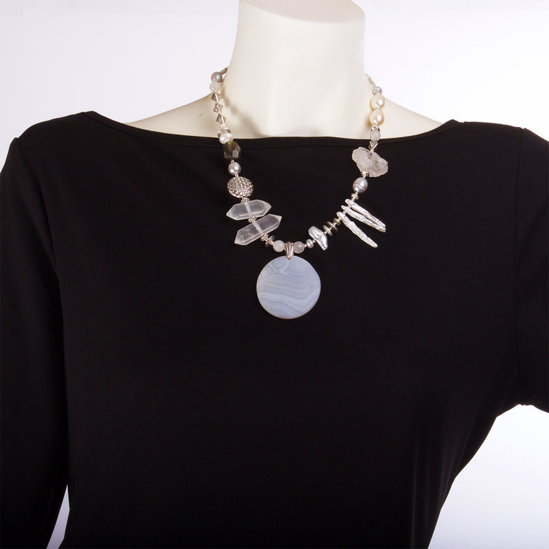 N°382 The Ministry of Antarctica Quartz & Pearl Statement Necklace