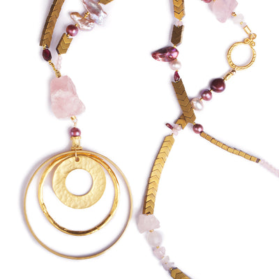 N°390 The Rose Quartz Cosmic Vertigo Statement Necklace