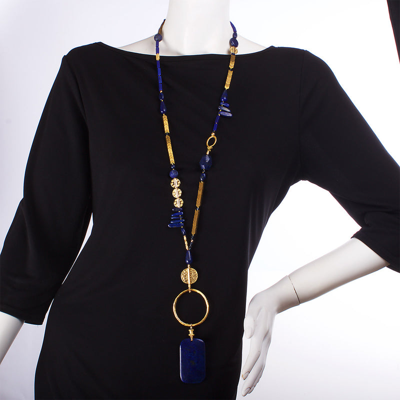 The Bold Republic of Lapis Lazuli Statement Necklace