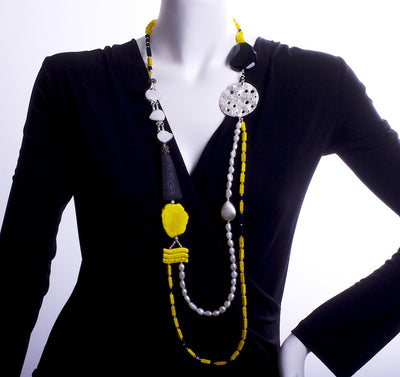 Mondrian's Lava & Pearl Translation into Lemon Shades Statement Necklace